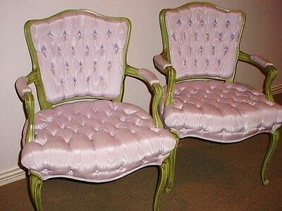 Hollywood Regency Lavender Silk Louis Xv Pair French Bedroom Chairs 1930's