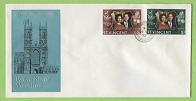 St Vincent 1972 Royal Wedding set on First Day Cover