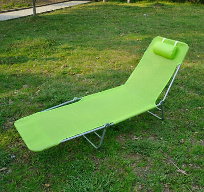 Foldable Chaise Lounge Adjustable Patio Cot Reclining Beach Chair w/Pillow Green