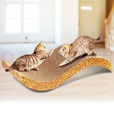 Wave Patterned Kitten Cat Scratcher Pet Claw Scratching Board Comfortable Bed
