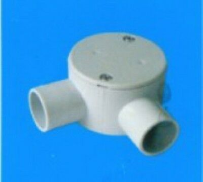 10x 20mm 2 way (90 degree) Conduit Round Junction Box