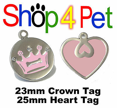 Cat Dog Tag PET ID TAGS Pink Crown & Diamantes or Pink Heart,  Engraved Options