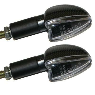Ryde Long Stem Motorcycle Bulb Indicators In Carbon Effect With Clear Lens Bike