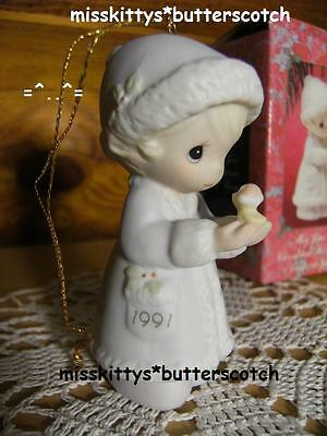 Precious Moments~ORNAMENT~DATED 1991~524174~May Your Christmas Be Merry~Bird