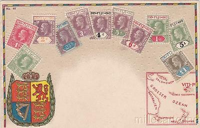 * FIJI - Illustration in relief with stamps, emblem and map