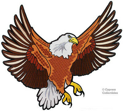 BALD EAGLE iron-on EMBROIDERED PATCH USA AMERICA LARGE PATRIOTIC BIKER VEST SIZE