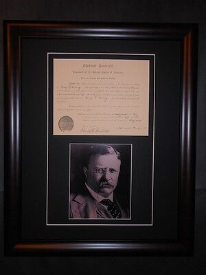 Theodore Roosevelt Signed 1908 Notary Public Presidential Document Matted & Fram
