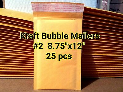 "Lots 25 #2 8.75""x12"" KRAFT SELF SEALED BUBBLE MAILERS PADDED ENVELOPE BAGS"