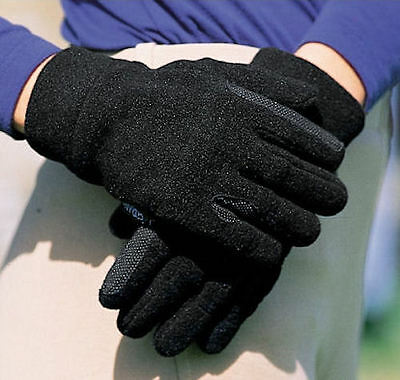 Horse & Western Dublin Winter Fleece  Riding Gloves Large  Black