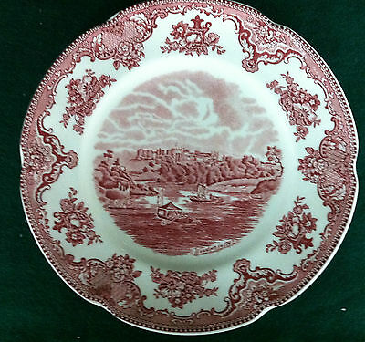 """JOHNSON BROTHERS """"OLD BRITAIN CASTLES"""" PINK LUNCH PLATES 8 7/8"""""""
