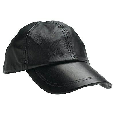 New Solid Black Leather Baseball Cap Mens Womens Adjustable Motorcycle Biker Hat