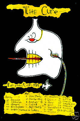 New Wave: The Cure European Tour Schedule Poster Circa 1984