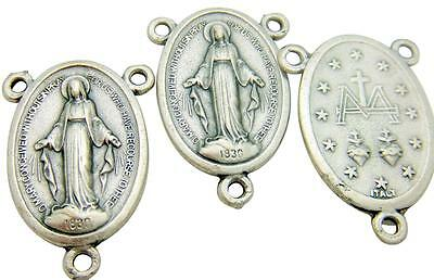 Miraculous Mary Madonna Medal Rosary Oval Centerpiece Silver Tone Metal, Italy