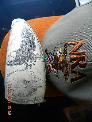 """Scrimshaw whale tooth resin replica """"AMERICAN SOARING EAGLE"""" 5&1/2 inches long"""