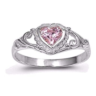 USA Seller Heart Baby Ring Sterling Silver 925 Best Price Jewelry Pink CZ