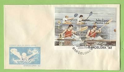 Laos 1991 Barcelona Olympics Rowing miniature sheet First Day Cover