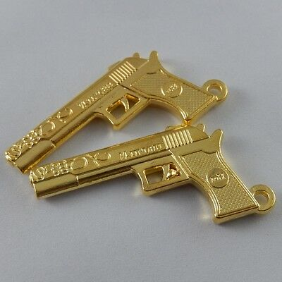 8X Vintage Style Gold Tone Gun Weapon Pendant Charms Findings 46*26*4mm