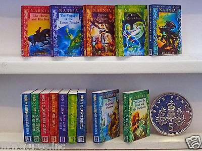 "FULL SET of SEVEN DOLLS HOUSE MINIATURE ""NARNIA"" BOOKS Handmade 1:12th Scale"