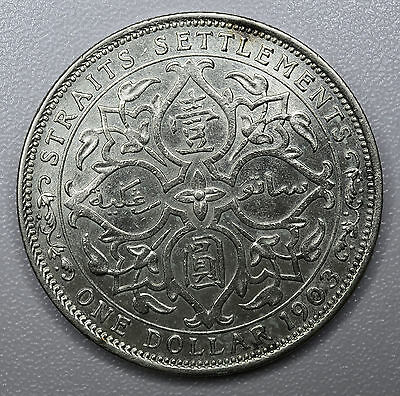 Straits Settlements 1 Dollar 1903 B, AU+, Incuse, silver crown, KM#25, $1 China