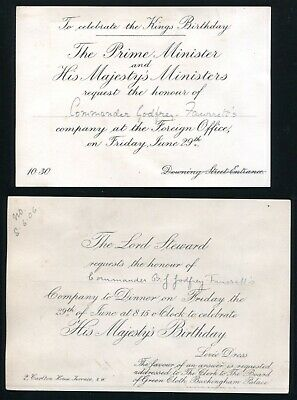 Two Invites Prime Minister Lord Steward Dinner King Edward Vii 1906