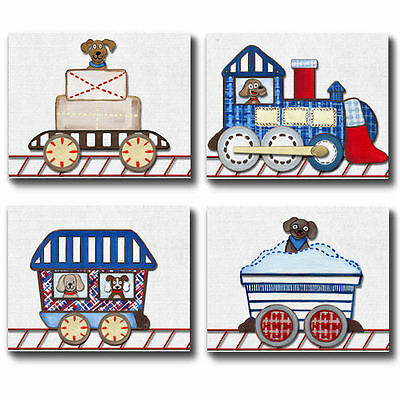 Trains and puppies for Logan WALL ART FOR NURSERY bedding decor set/4 boy prints