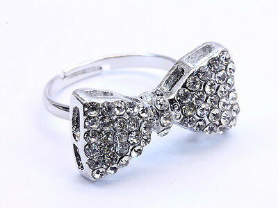 Sparkly Silver Crystal Bow Ring Adjustable  tie Silver tone metal Rhinestone