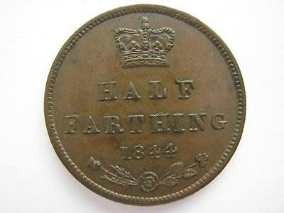 1844 half farthing, E over E in REGINA.