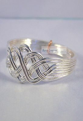 8 Band Open Weave Princess Style Turkish Puzzle Ring - Silver Plated