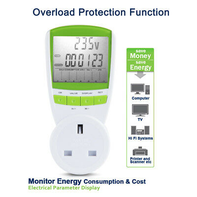New Power Meter Energy Monitor  Plug-in W  KWH volts  Electricity Meter UK Plug