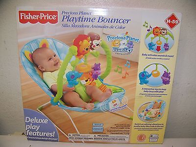 FISHER PRICE PRECIOUS PLANET BLUE SKY PLAYTIME BOUNCER INFANT SEAT NEW