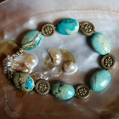 LOVELY CHINESE TURQUOISE BEAD BRACELET Made in USA D9 FAST Shipping
