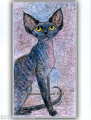 Large Limited Ed. Devon Rex Cat Painting Print From Original By Suzanne Le Good