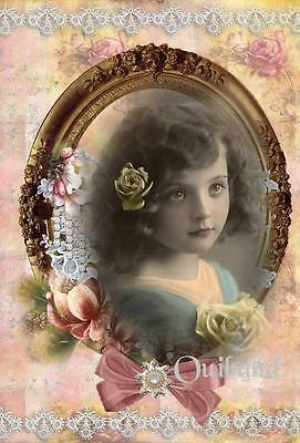 Fabric Block Vintage Altered Postcard Victorian Girl ~Chic & Shabby~ Roses Oval