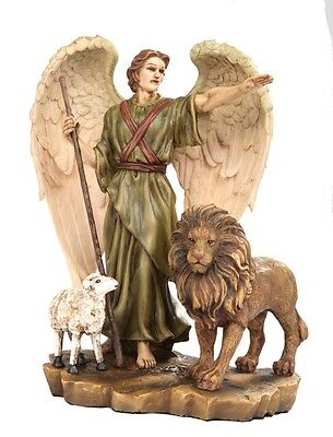ISAIAH 11:6 INSPIRED GUARDIAN ANGEL WITH LION AND LAMB STATUE PEACE OF GOD