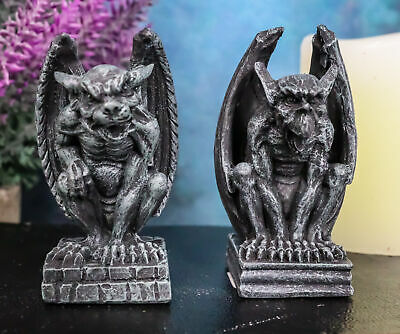 Small Set Of Two Mini Gargoyle Statue Chimera Faux Stone Desktop Decoration