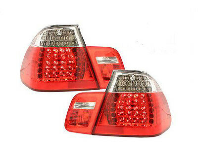 Bmw E46 3 Series 4 Door Saloon 2002-2004 Red/clear Led Style Rear Tail Lights