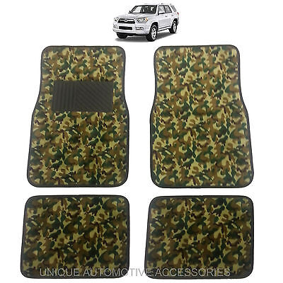 New Premium Green Camo Camouflage Design Carpet Floor Mats Set For Suvs 10068