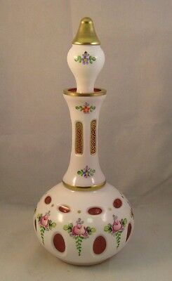 Antique Moser Cut to Cranberry Hand Painted Decanter and Stopper c.1885