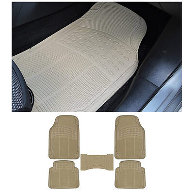 5pc XS. Sedan Beige Tan Front & Rear w/ Center Utility Rubber Floor Mats Set