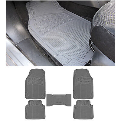 5pc MD. SUV Gray Grey Front & Rear w/ Center Utility Rubber Floor Mats Set