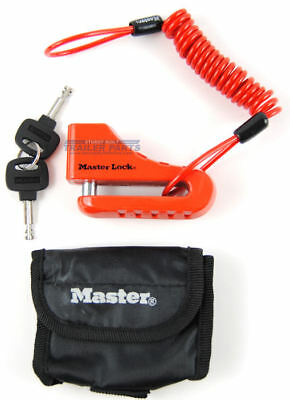 Masterlock Motorcycle Wheel Disc Brake Lock w/ Saftey Cable and Case 8304DPS