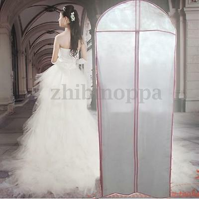 """Breathable Bridal Wedding Dress Gown Garment Bag Cover Storage Protector 61"""" Zip"""