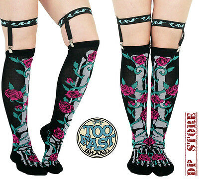 Too Fast Gothic Goth Skeleton Doll Punk Emo Tattoo Rockabilly Garter Belt Socks