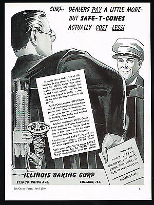 1940 Illinois Baking Corp Ice Cream Safe-T-Cones Cost Less Print Ad