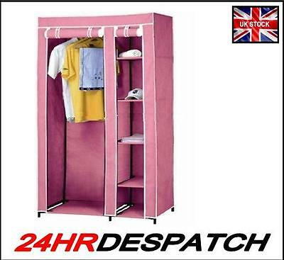 New Pink DOUBLE CANVAS WARDROBE WITH HANGING RAIL SHELVES STORAGE FURNITURE