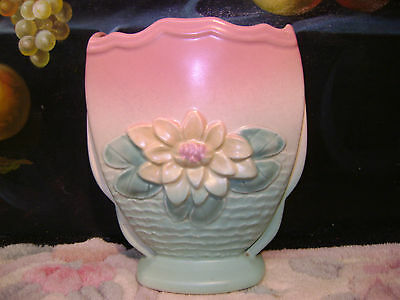 Hull Pottery Light Green Pink Pastel Lily l6 Vase Great With Niloak Pottery!