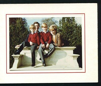 RARE SIGNED CHRISTMAS CARD PRINCESS DIANA WITH PRINCE CHARLES WILLIAM & HARRY