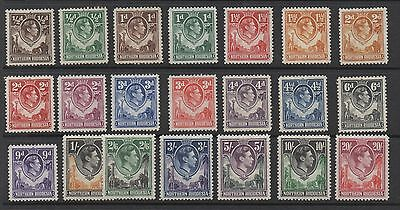 Northern Rhodesia. 1938. Set x 21 values. Fine and fresh mtd mint.