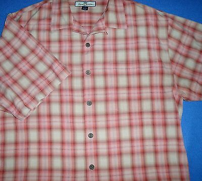 L TOMMY BAHAMA RELAX CORAL CREAM PLAID DAMASK WINE BURGUNDY BEIGE MENS SHIRT