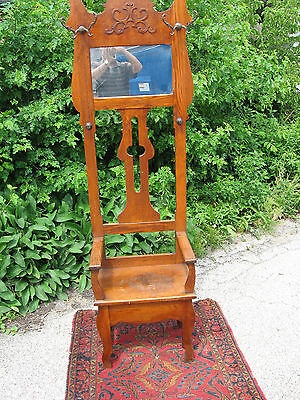 Oak Hall Tree Stand/Chair seat w Mirror Antique Decorative Vintage Furniture